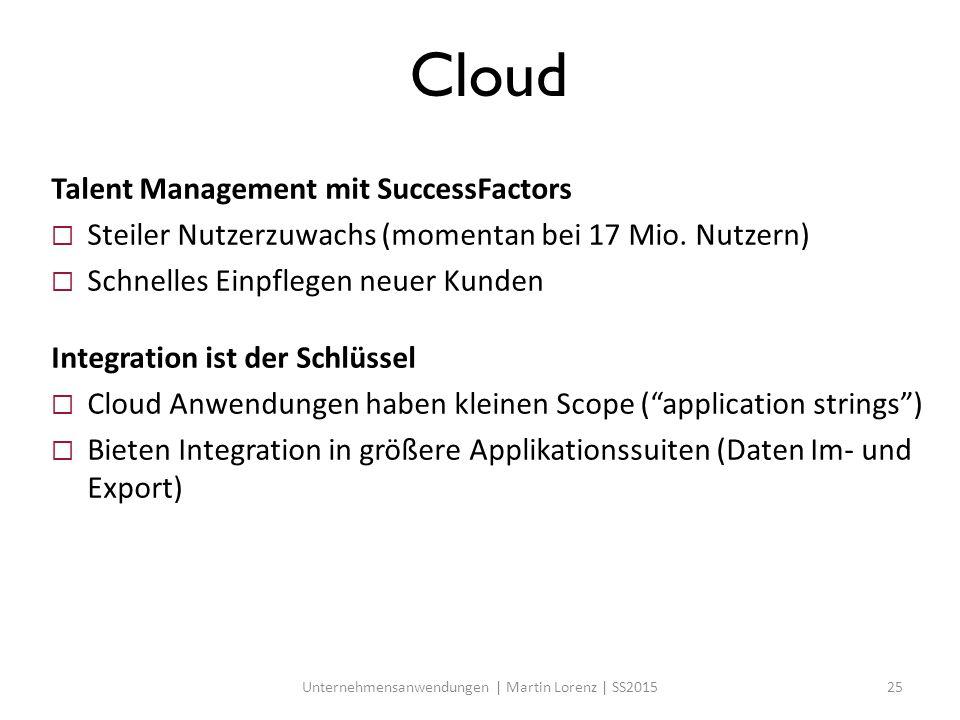 Cloud Talent Management mit SuccessFactors  Steiler Nutzerzuwachs (momentan bei 17 Mio. Nutzern)  Schnelles Einpflegen neuer Kunden Integration ist