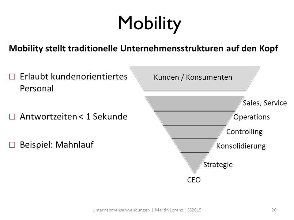 Mobility Mobility stellt traditionelle Unternehmensstrukturen auf den Kopf  Erlaubt kundenorientiertes Personal  Antwortzeiten < 1 Sekunde  Beispie