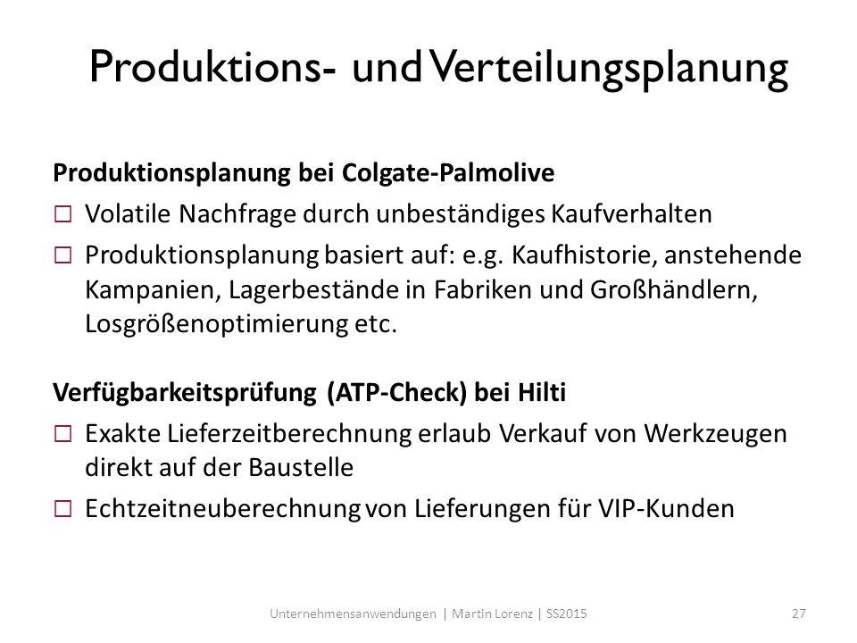 Produktions- und Verteilungsplanung Produktionsplanung bei Colgate-Palmolive  Volatile Nachfrage durch unbeständiges Kaufverhalten  Produktionsplanu