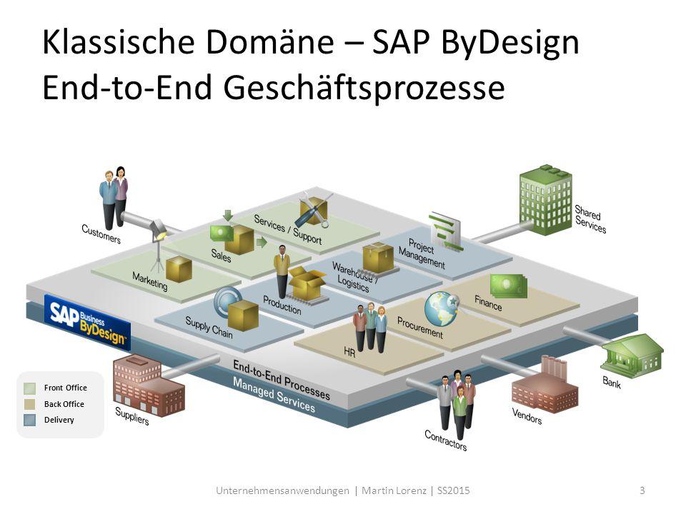 Klassische Domäne – SAP ByDesign End-to-End Geschäftsprozesse Front Office Back Office Delivery 3Unternehmensanwendungen | Martin Lorenz | SS2015