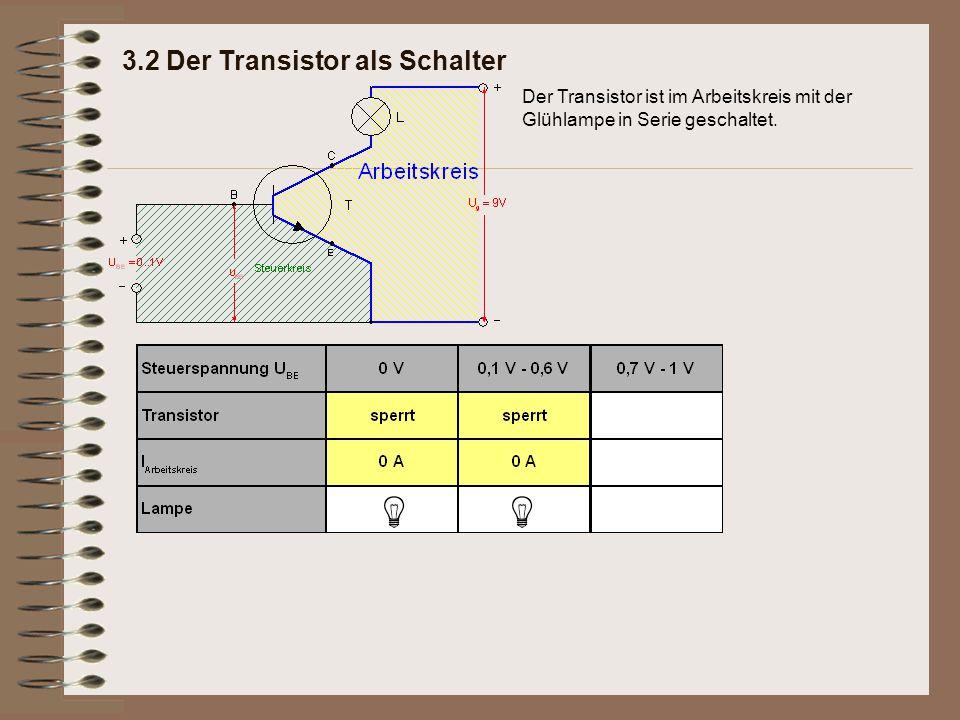 3.2 Der Transistor als Schalter Der Transistor ist im Arbeitskreis mit der Glühlampe in Serie geschaltet.