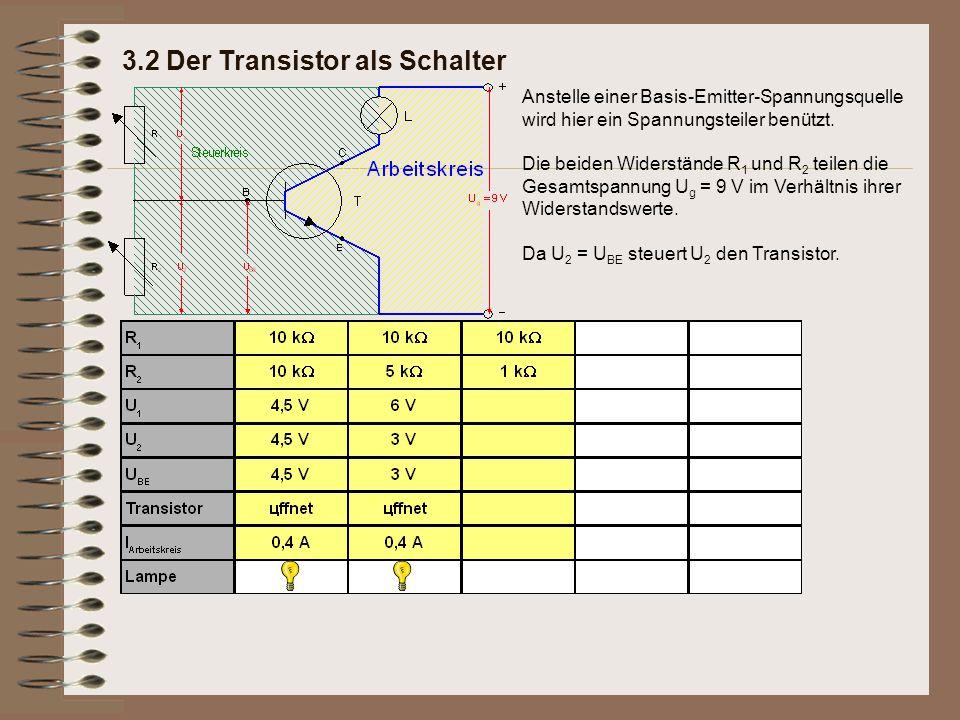3.2 Der Transistor als Schalter Anstelle einer Basis-Emitter-Spannungsquelle wird hier ein Spannungsteiler benützt. Die beiden Widerstände R 1 und R 2