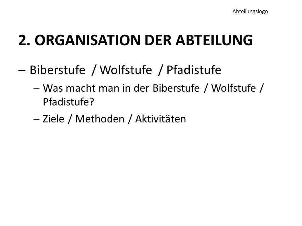 2. ORGANISATION DER ABTEILUNG  Biberstufe / Wolfstufe / Pfadistufe  Was macht man in der Biberstufe / Wolfstufe / Pfadistufe?  Ziele / Methoden / A