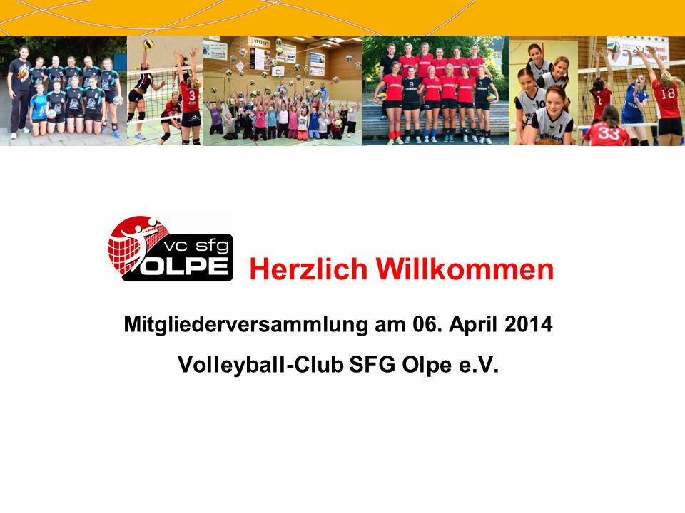 Herzlich Willkommen Mitgliederversammlung am 06. April 2014 Volleyball-Club SFG Olpe e.V.