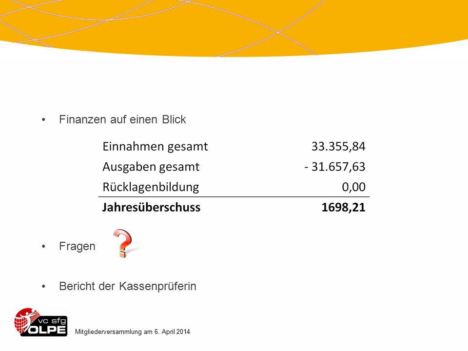 Mitgliederversammlung am 6. April 2014 Finanzen auf einen Blick Fragen Bericht der Kassenprüferin