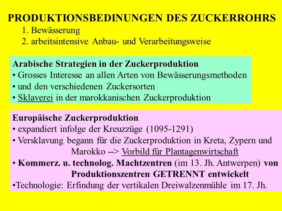PRODUKTIONSBEDINUNGEN DES ZUCKERROHRS 1. Bewässerung 2. arbeitsintensive Anbau- und Verarbeitungsweise Arabische Strategien in der Zuckerproduktion Gr