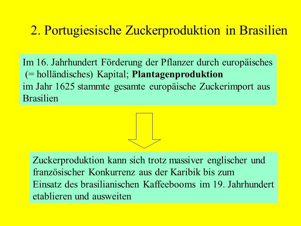 2. Portugiesische Zuckerproduktion in Brasilien Im 16. Jahrhundert Förderung der Pflanzer durch europäisches (= holländisches) Kapital; Plantagenprodu