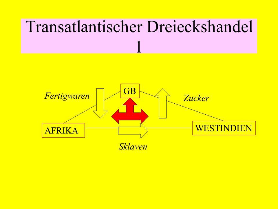 Transatlantischer Dreieckshandel 1 GB AFRIKA WESTINDIEN Fertigwaren Zucker Sklaven