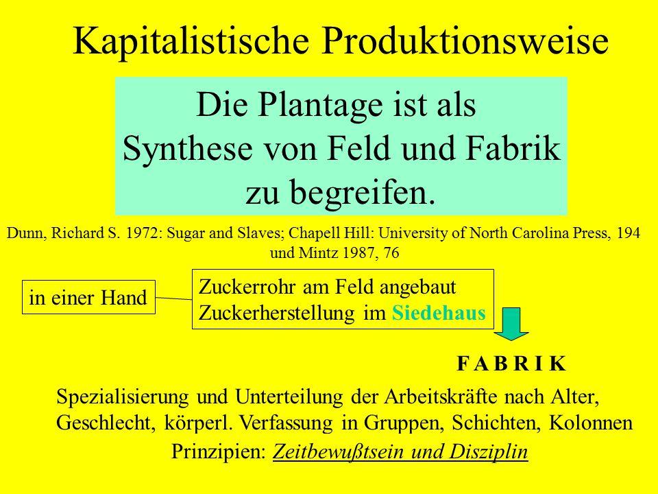 Die Plantage ist als Synthese von Feld und Fabrik zu begreifen. Dunn, Richard S. 1972: Sugar and Slaves; Chapell Hill: University of North Carolina Pr