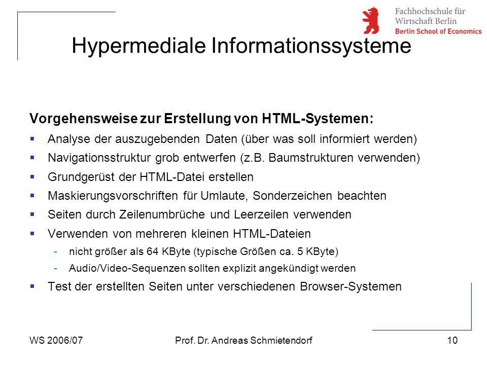WS 2006/07Prof. Dr. Andreas Schmietendorf10 Hypermediale Informationssysteme Vorgehensweise zur Erstellung von HTML-Systemen:  Analyse der auszugeben