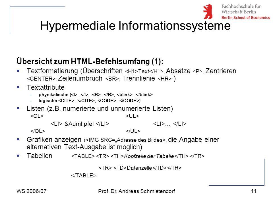 WS 2006/07Prof. Dr. Andreas Schmietendorf11 Hypermediale Informationssysteme Übersicht zum HTML-Befehlsumfang (1):  Textformatierung (Überschriften T