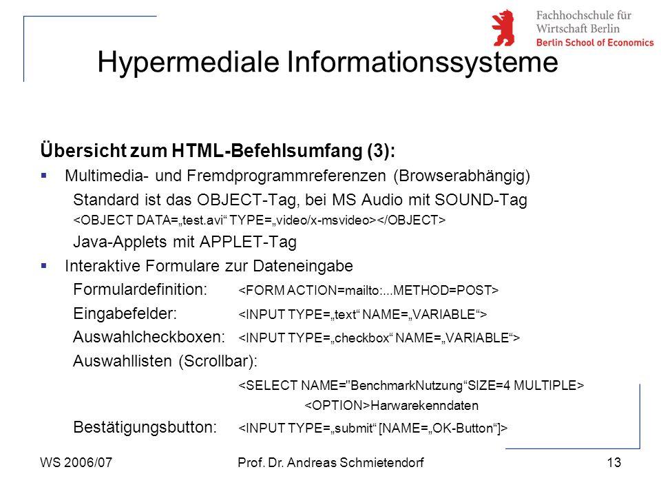 WS 2006/07Prof. Dr. Andreas Schmietendorf13 Hypermediale Informationssysteme Übersicht zum HTML-Befehlsumfang (3):  Multimedia- und Fremdprogrammrefe