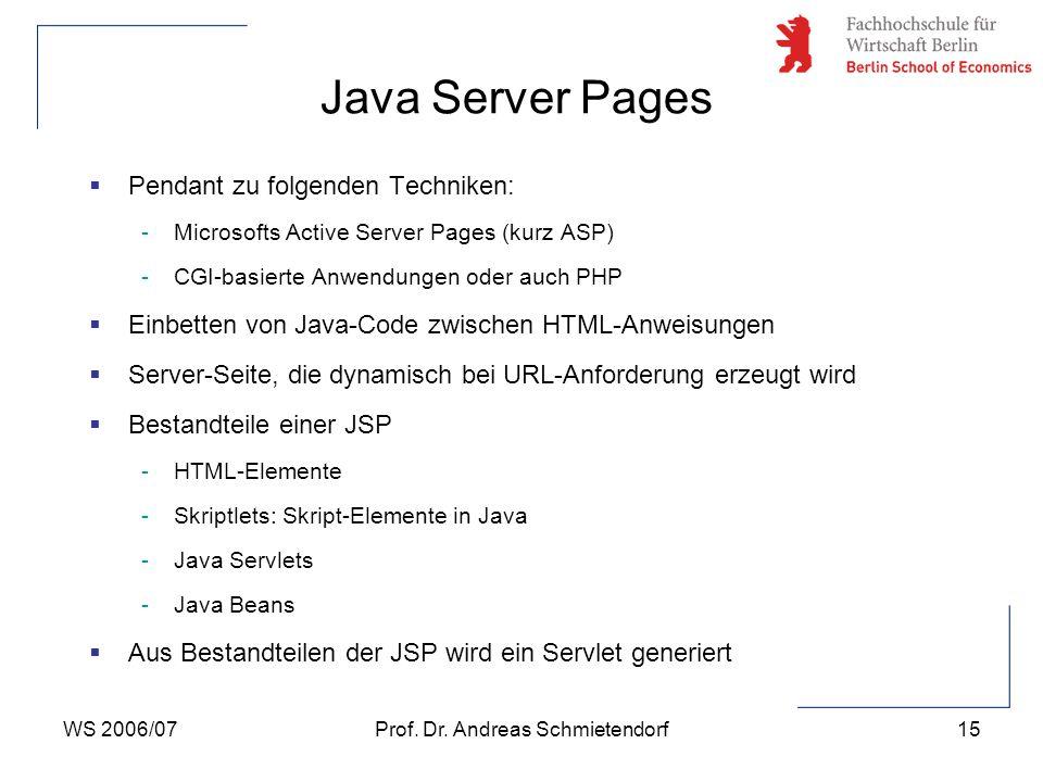 WS 2006/07Prof. Dr. Andreas Schmietendorf15  Pendant zu folgenden Techniken: -Microsofts Active Server Pages (kurz ASP) -CGI-basierte Anwendungen ode