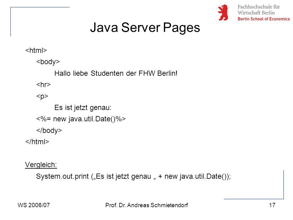 WS 2006/07Prof. Dr. Andreas Schmietendorf18 Java Server Pages JSP-Seite unter JSP-examples:
