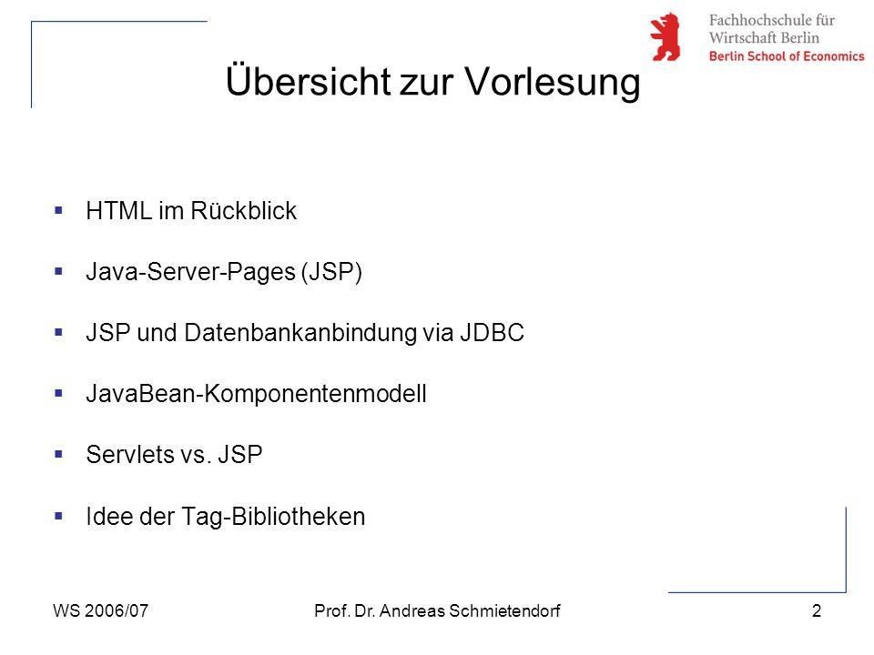WS 2006/07Prof. Dr. Andreas Schmietendorf2 Übersicht zur Vorlesung  HTML im Rückblick  Java-Server-Pages (JSP)  JSP und Datenbankanbindung via JDBC