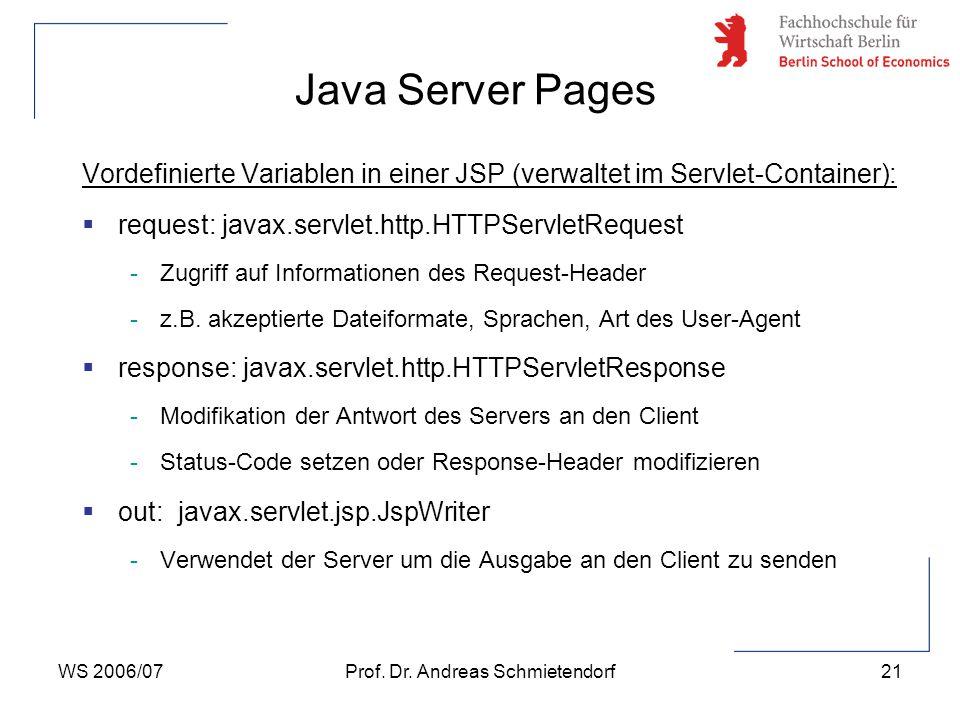 WS 2006/07Prof. Dr. Andreas Schmietendorf21 Vordefinierte Variablen in einer JSP (verwaltet im Servlet-Container):  request: javax.servlet.http.HTTPS