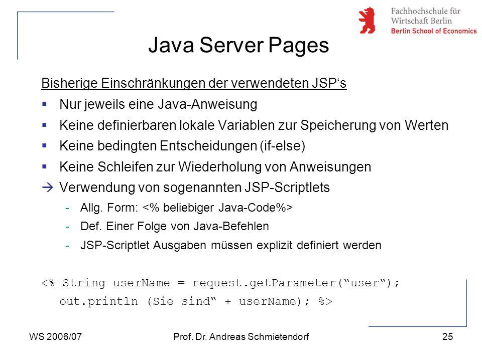 WS 2006/07Prof. Dr. Andreas Schmietendorf25 Bisherige Einschränkungen der verwendeten JSP's  Nur jeweils eine Java-Anweisung  Keine definierbaren lo