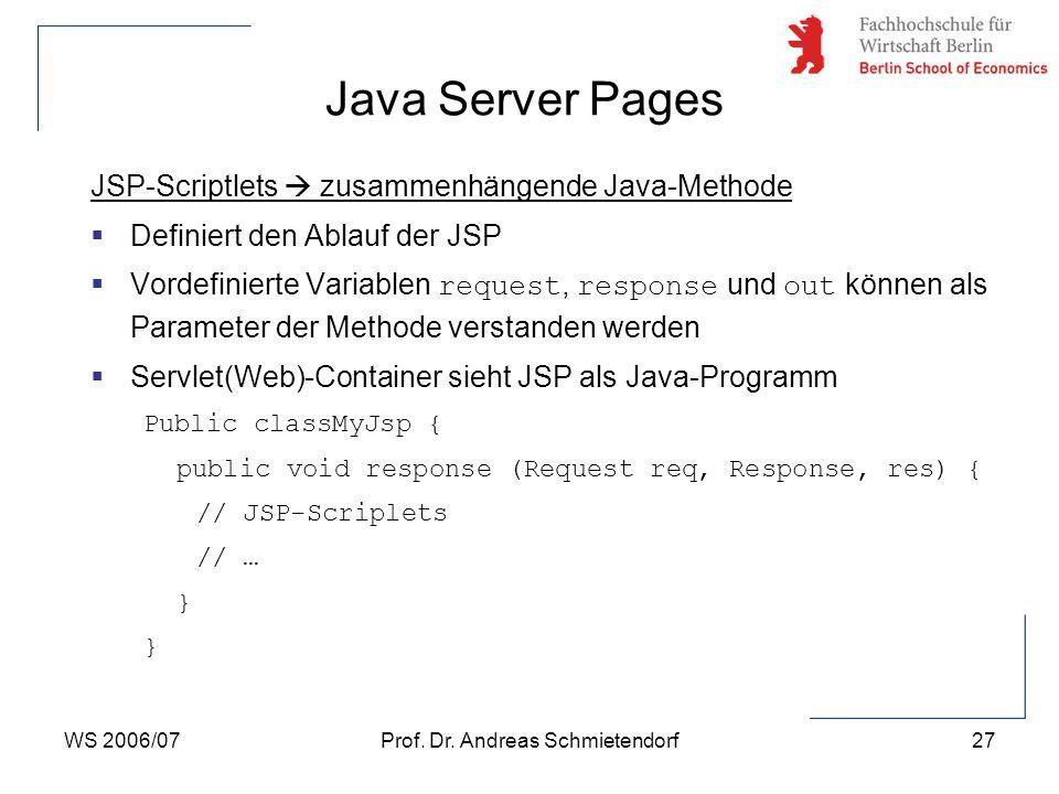 WS 2006/07Prof. Dr. Andreas Schmietendorf27 JSP-Scriptlets  zusammenhängende Java-Methode  Definiert den Ablauf der JSP  Vordefinierte Variablen re