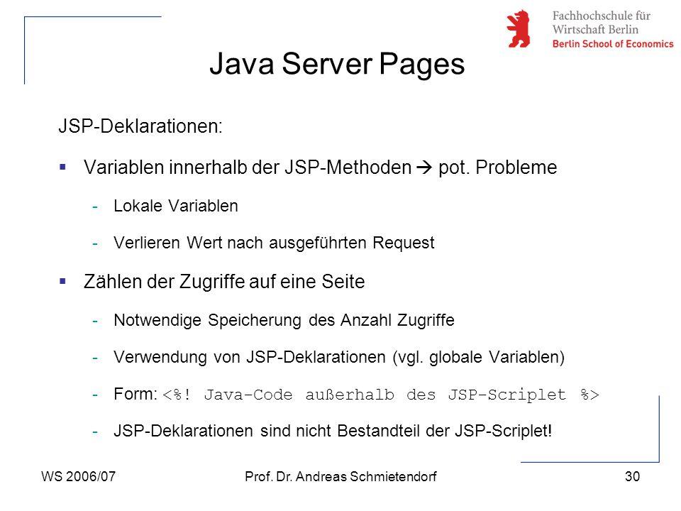 WS 2006/07Prof. Dr. Andreas Schmietendorf30 JSP-Deklarationen:  Variablen innerhalb der JSP-Methoden  pot. Probleme -Lokale Variablen -Verlieren Wer