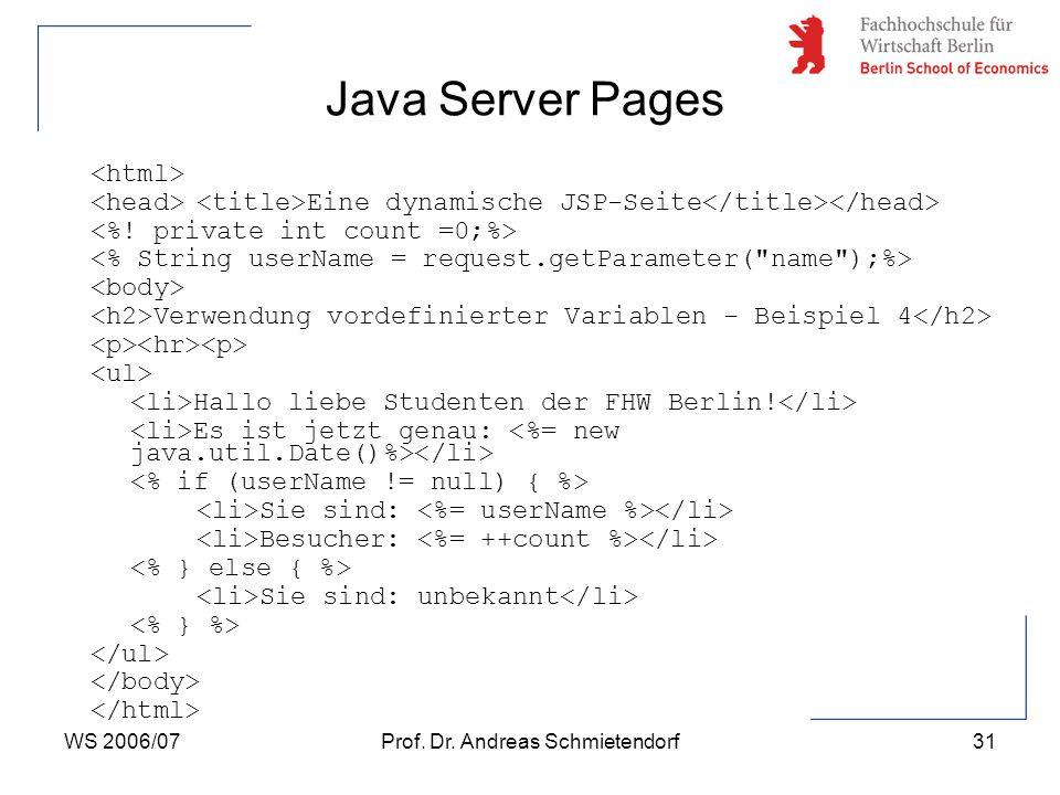 WS 2006/07Prof. Dr. Andreas Schmietendorf32 Java Server Pages 15. Aufruf   14. Aufruf