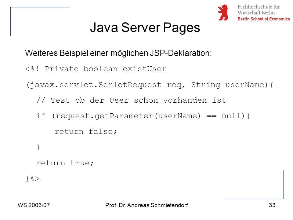 WS 2006/07Prof. Dr. Andreas Schmietendorf33 Weiteres Beispiel einer möglichen JSP-Deklaration: <%! Private boolean existUser (javax.servlet.SerletRequ