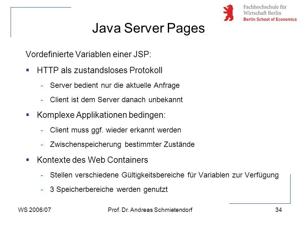 WS 2006/07Prof. Dr. Andreas Schmietendorf34 Vordefinierte Variablen einer JSP:  HTTP als zustandsloses Protokoll -Server bedient nur die aktuelle Anf