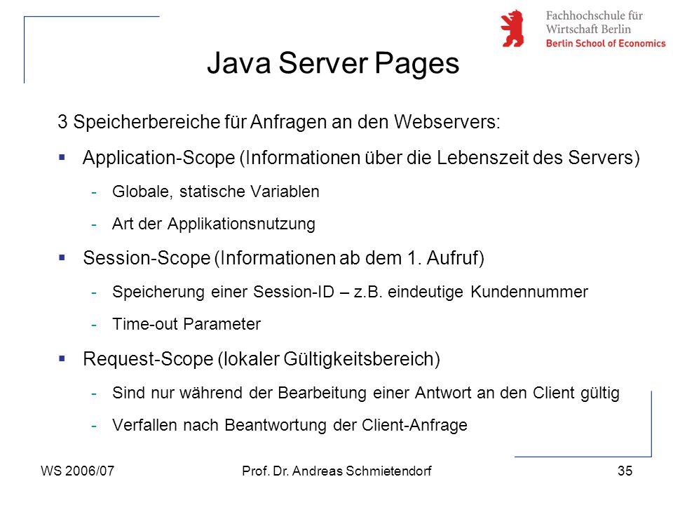 WS 2006/07Prof. Dr. Andreas Schmietendorf35 3 Speicherbereiche für Anfragen an den Webservers:  Application-Scope (Informationen über die Lebenszeit
