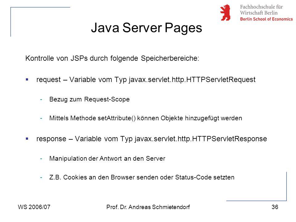 WS 2006/07Prof. Dr. Andreas Schmietendorf36 Kontrolle von JSPs durch folgende Speicherbereiche:  request – Variable vom Typ javax.servlet.http.HTTPSe