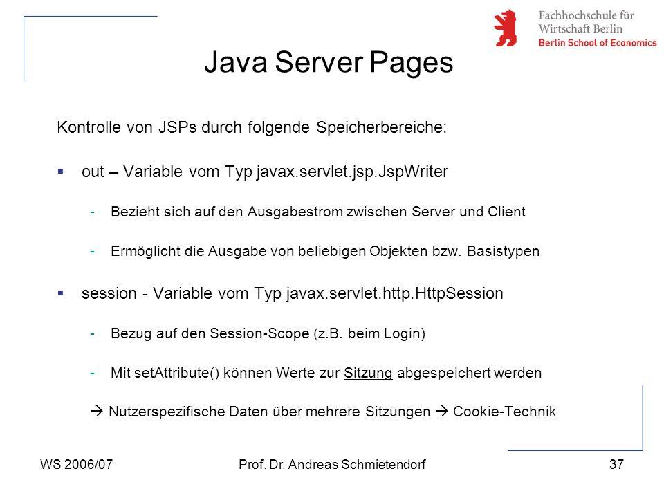 WS 2006/07Prof. Dr. Andreas Schmietendorf37 Kontrolle von JSPs durch folgende Speicherbereiche:  out – Variable vom Typ javax.servlet.jsp.JspWriter -