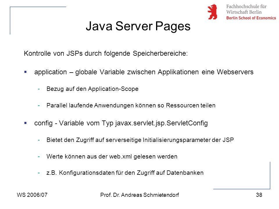 WS 2006/07Prof. Dr. Andreas Schmietendorf38 Kontrolle von JSPs durch folgende Speicherbereiche:  application – globale Variable zwischen Applikatione