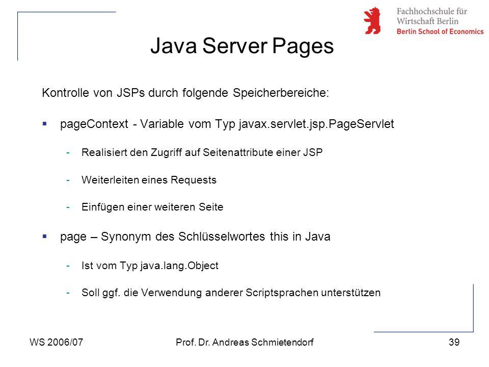 WS 2006/07Prof. Dr. Andreas Schmietendorf39 Kontrolle von JSPs durch folgende Speicherbereiche:  pageContext - Variable vom Typ javax.servlet.jsp.Pag