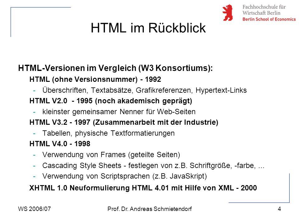 WS 2006/07Prof. Dr. Andreas Schmietendorf4 HTML-Versionen im Vergleich (W3 Konsortiums): HTML (ohne Versionsnummer) - 1992 -Überschriften, Textabsätze