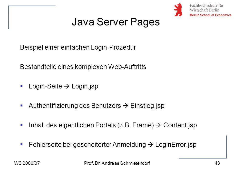 WS 2006/07Prof. Dr. Andreas Schmietendorf43 Beispiel einer einfachen Login-Prozedur Bestandteile eines komplexen Web-Auftritts  Login-Seite  Login.j