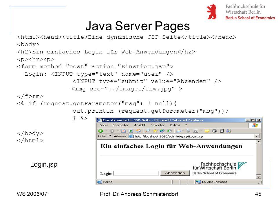 WS 2006/07Prof. Dr. Andreas Schmietendorf45 Java Server Pages Eine dynamische JSP-Seite Ein einfaches Login für Web-Anwendungen Login: <% if (request.