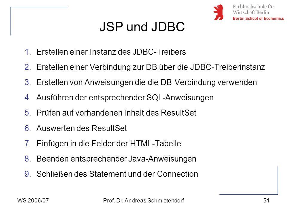 WS 2006/07Prof. Dr. Andreas Schmietendorf51 1.Erstellen einer Instanz des JDBC-Treibers 2.Erstellen einer Verbindung zur DB über die JDBC-Treiberinsta