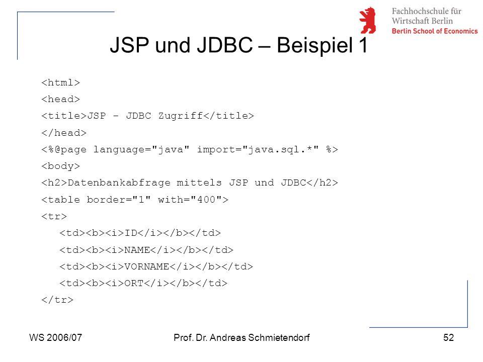 WS 2006/07Prof. Dr. Andreas Schmietendorf52 JSP - JDBC Zugriff Datenbankabfrage mittels JSP und JDBC ID NAME VORNAME ORT JSP und JDBC – Beispiel 1