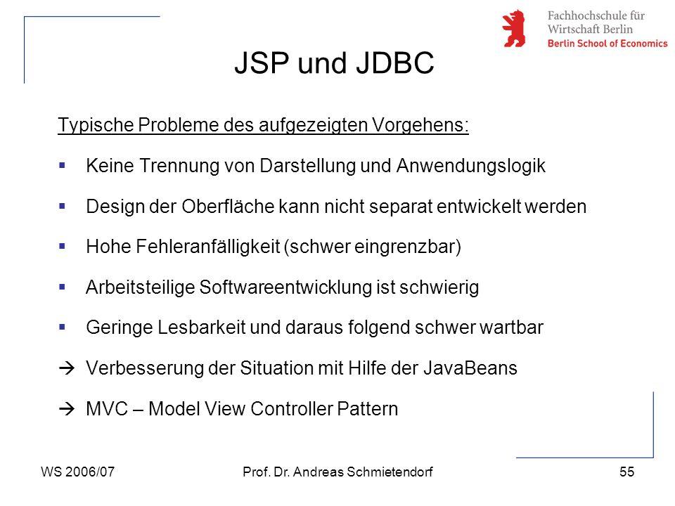 WS 2006/07Prof. Dr. Andreas Schmietendorf55 Typische Probleme des aufgezeigten Vorgehens:  Keine Trennung von Darstellung und Anwendungslogik  Desig