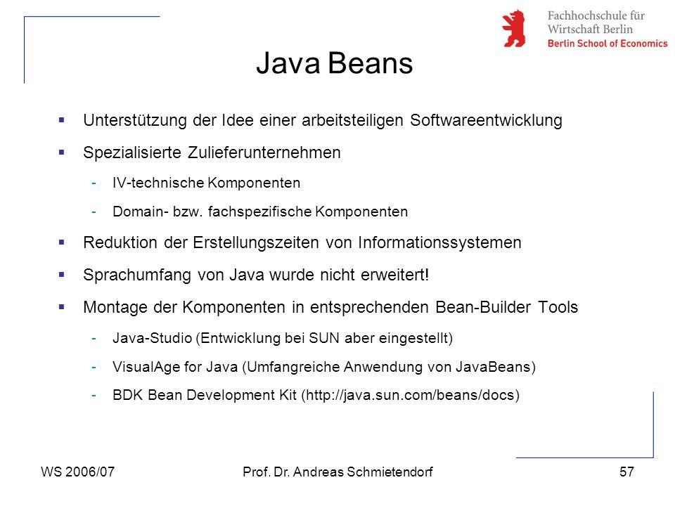 WS 2006/07Prof. Dr. Andreas Schmietendorf57  Unterstützung der Idee einer arbeitsteiligen Softwareentwicklung  Spezialisierte Zulieferunternehmen -I