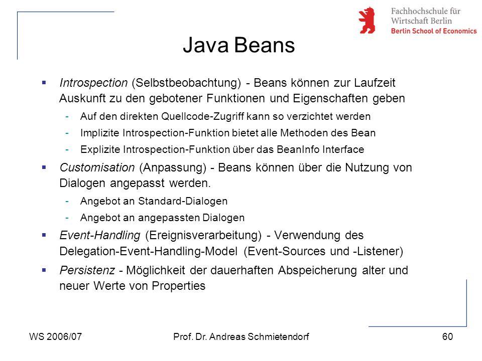 WS 2006/07Prof. Dr. Andreas Schmietendorf60  Introspection (Selbstbeobachtung) - Beans können zur Laufzeit Auskunft zu den gebotener Funktionen und E