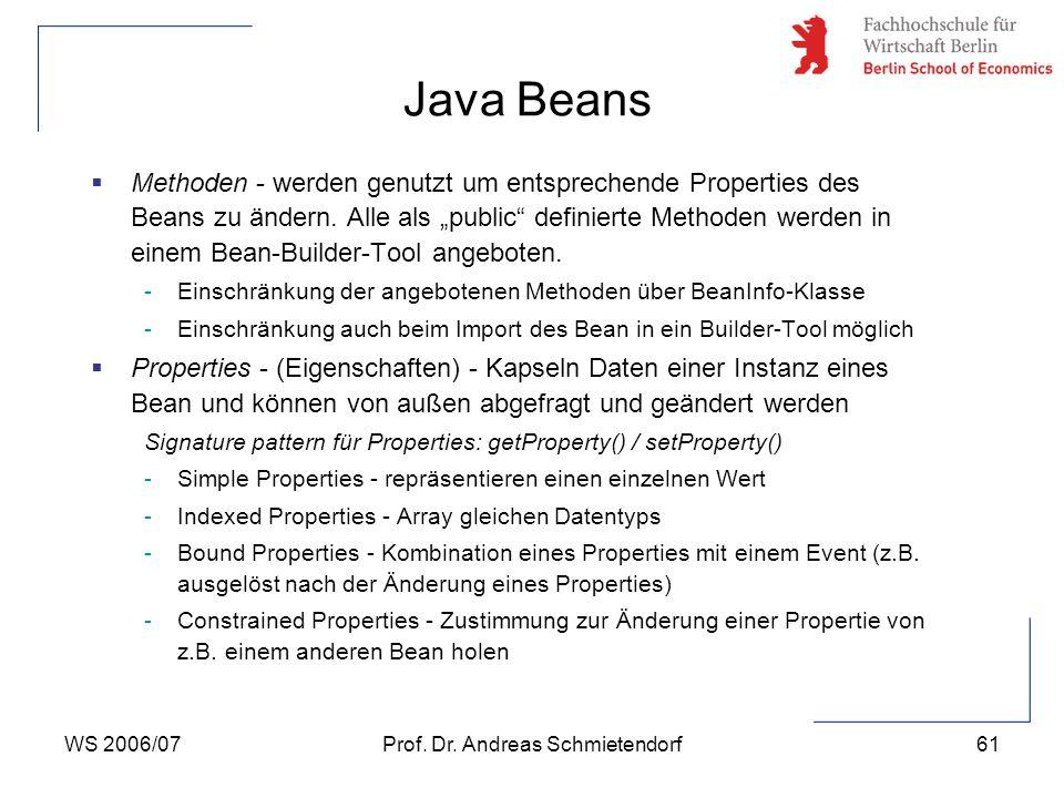 """WS 2006/07Prof. Dr. Andreas Schmietendorf61  Methoden - werden genutzt um entsprechende Properties des Beans zu ändern. Alle als """"public"""" definierte"""
