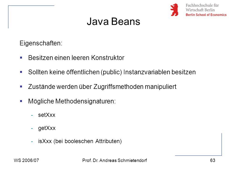 WS 2006/07Prof. Dr. Andreas Schmietendorf63 Eigenschaften:  Besitzen einen leeren Konstruktor  Sollten keine öffentlichen (public) Instanzvariablen