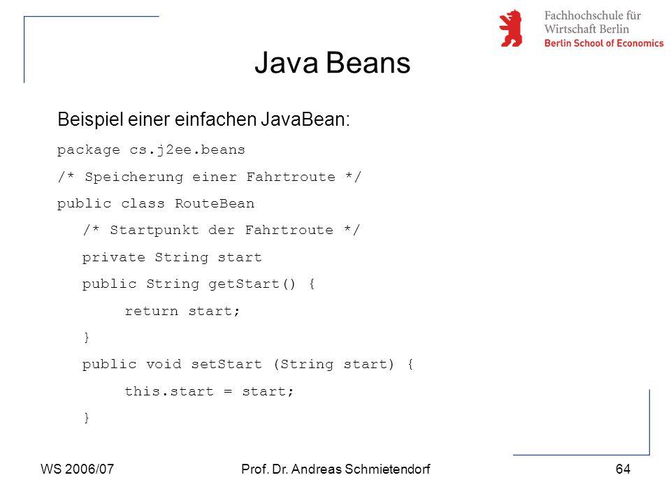 WS 2006/07Prof. Dr. Andreas Schmietendorf64 Beispiel einer einfachen JavaBean: package cs.j2ee.beans /* Speicherung einer Fahrtroute */ public class R
