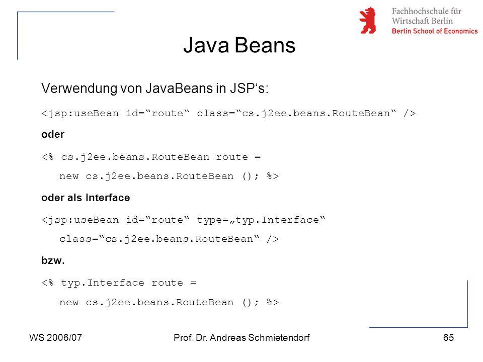 WS 2006/07Prof. Dr. Andreas Schmietendorf65 Verwendung von JavaBeans in JSP's: oder oder als Interface bzw. Java Beans
