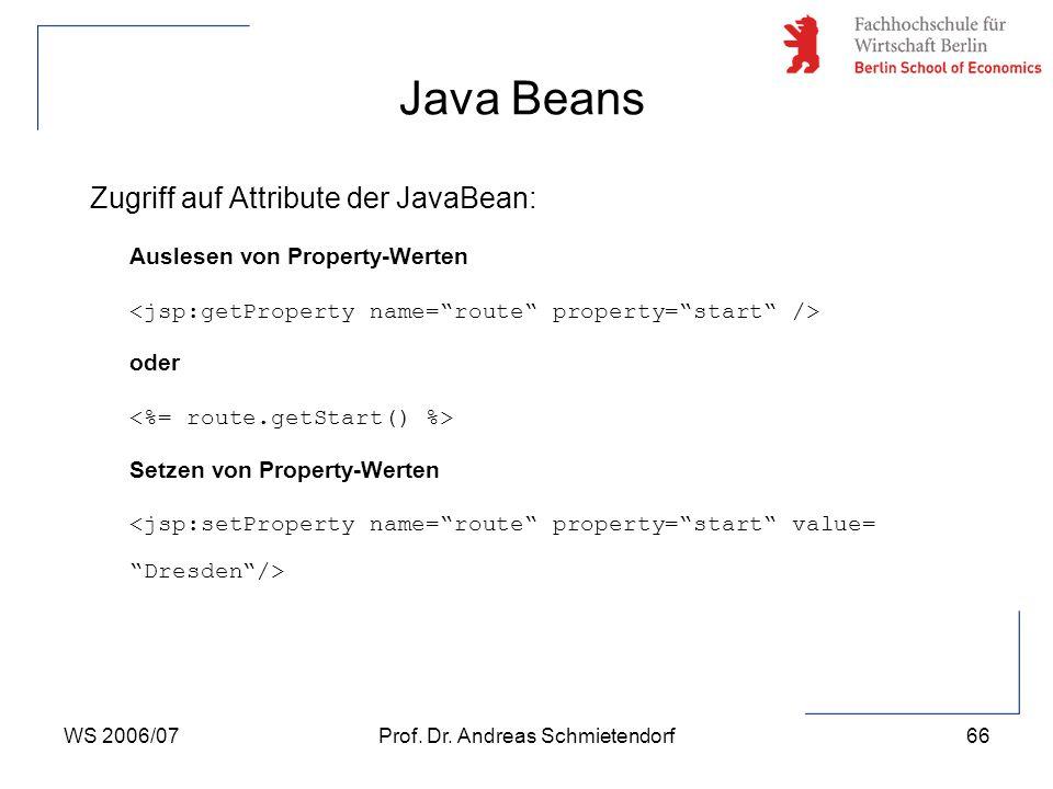 WS 2006/07Prof. Dr. Andreas Schmietendorf66 Zugriff auf Attribute der JavaBean: Auslesen von Property-Werten oder Setzen von Property-Werten Java Bean