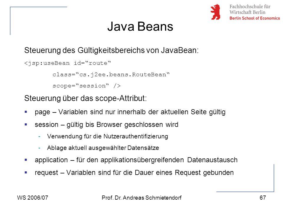 "WS 2006/07Prof. Dr. Andreas Schmietendorf67 Steuerung des Gültigkeitsbereichs von JavaBean: <jsp:useBean id=""route"" class=""cs.j2ee.beans.RouteBean"" sc"