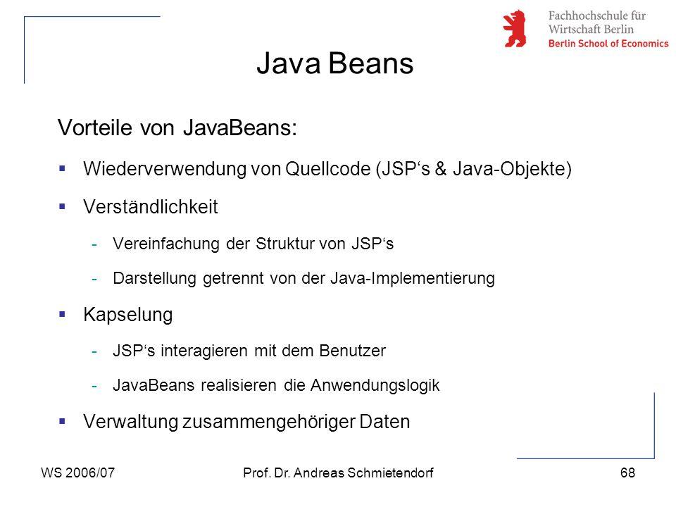 WS 2006/07Prof. Dr. Andreas Schmietendorf68 Vorteile von JavaBeans:  Wiederverwendung von Quellcode (JSP's & Java-Objekte)  Verständlichkeit -Verein
