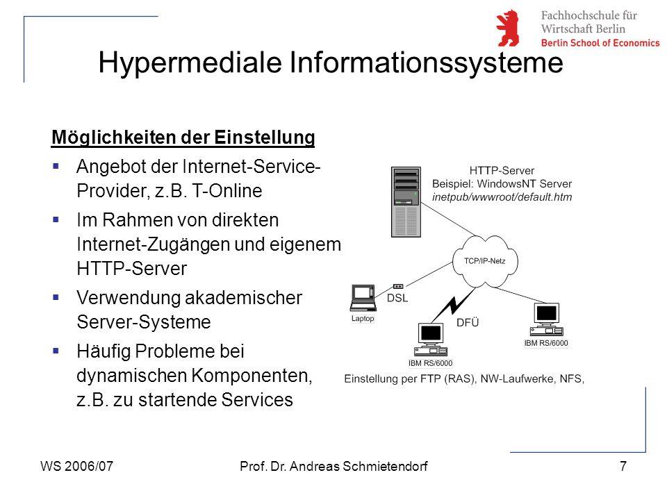 WS 2006/07Prof. Dr. Andreas Schmietendorf7 Hypermediale Informationssysteme Möglichkeiten der Einstellung  Angebot der Internet-Service- Provider, z.