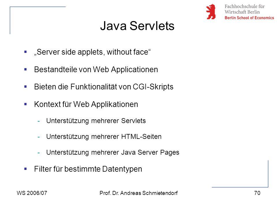 """WS 2006/07Prof. Dr. Andreas Schmietendorf70  """"Server side applets, without face""""  Bestandteile von Web Applicationen  Bieten die Funktionalität von"""
