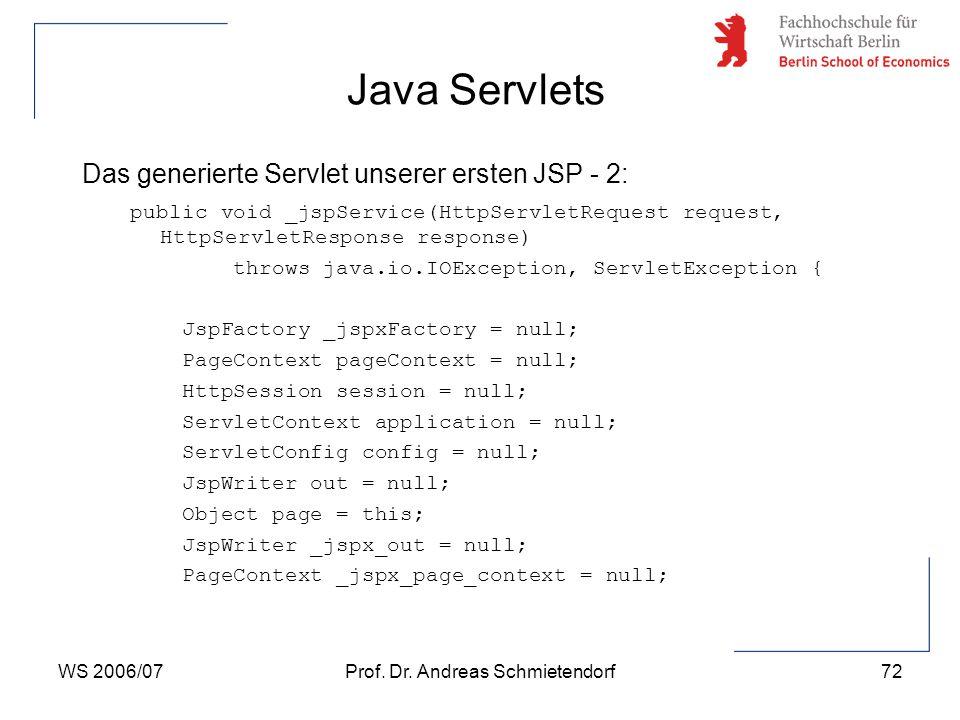 WS 2006/07Prof. Dr. Andreas Schmietendorf72 Das generierte Servlet unserer ersten JSP - 2: public void _jspService(HttpServletRequest request, HttpSer