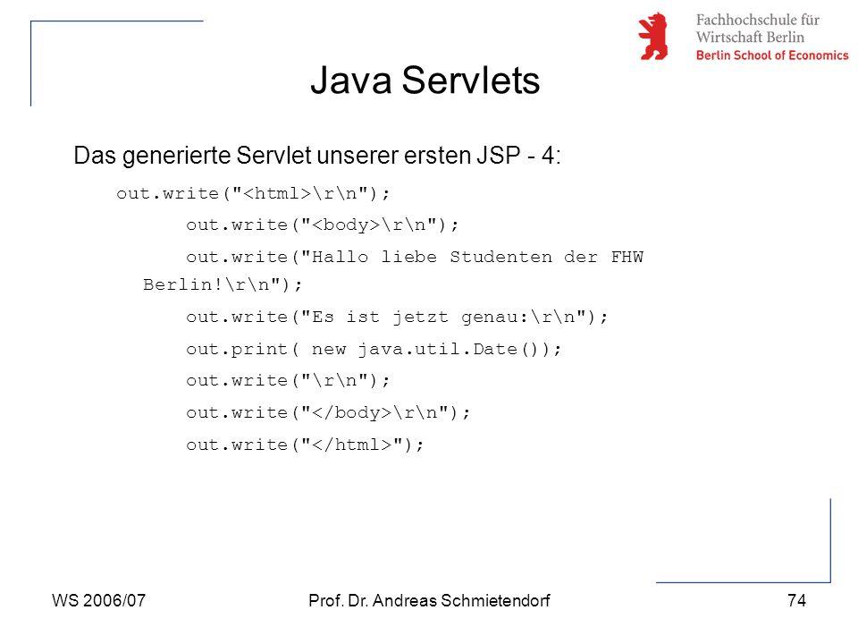 WS 2006/07Prof. Dr. Andreas Schmietendorf74 Das generierte Servlet unserer ersten JSP - 4: out.write(